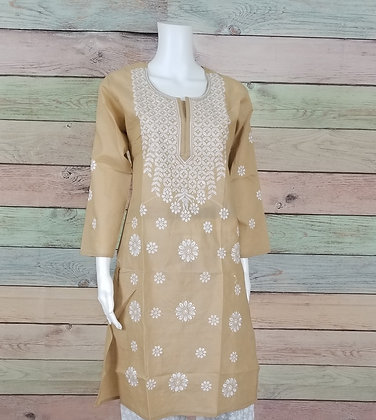 Fawn Embroidered Cotton Kurti