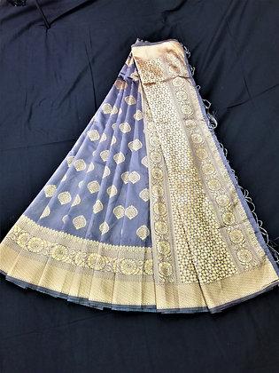 Teal Art Satin Sari