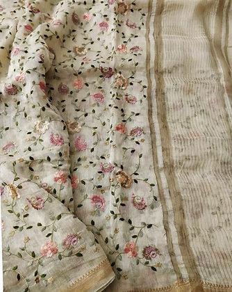 Off-White handloom cotton linen saree