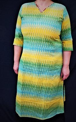 Teal, Yellow and Green printed kurti