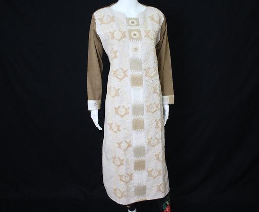 Brown and White Woolen Kurti ( XL )