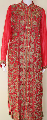 Exquisite Red Gold Long Churidar Anarkali Suit (M, L)