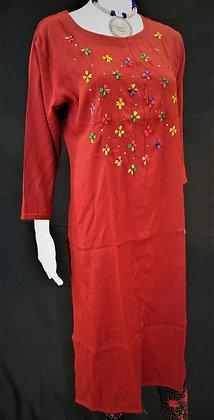 Red Cotton Kurti w/ embroidery