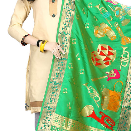 DARK GREEN SILK DUPATTA