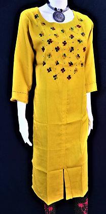Yellow Cotton Rayon Kurti
