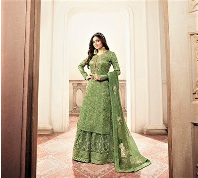 Green Embroidered Sharrara Suit