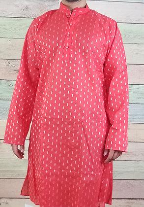 Red Readymade Cotton Kurta
