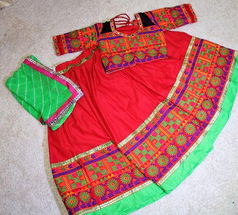 Red and Green Gujarati Lacha Chaniya Choli for Garba Dandiya(M/L)