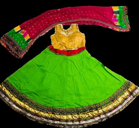 Parrot Green Navratri Lehnga