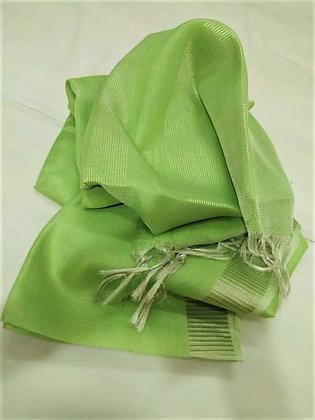 Green handloom cotton linen saree
