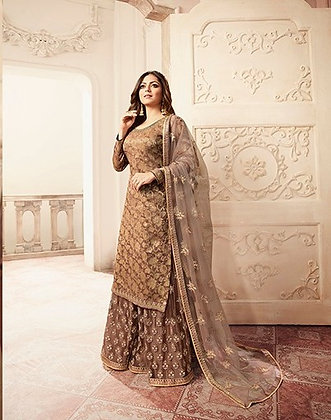 Fawn Embroidered Sharrara Suit
