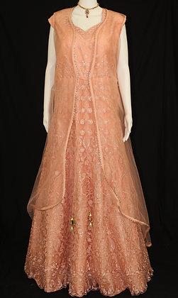 Peach Indo-western Gown w/ Jacket