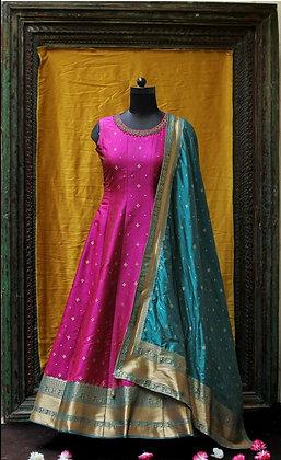 Magenta Pink Silk Gown w/Teal Dupatta