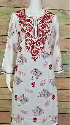 White and Red Cotton Kurti w/ Embroidery