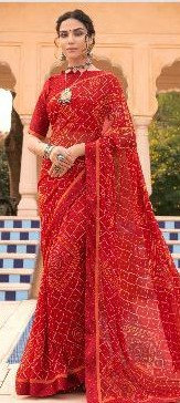 Georgette Sari Red printed