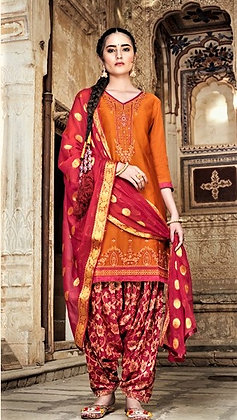Orange embroidered shirt and pink printed salwar