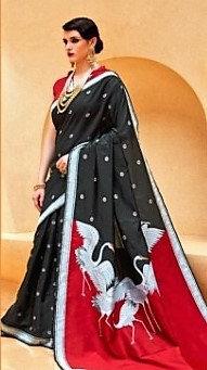 Black and Red Handloom Waving Silk Saree