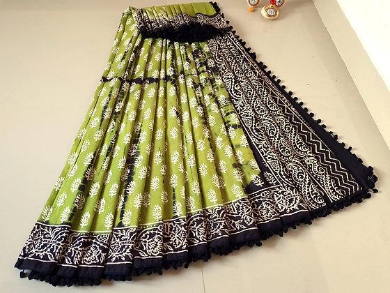 Olive Green - Black cotton Sari