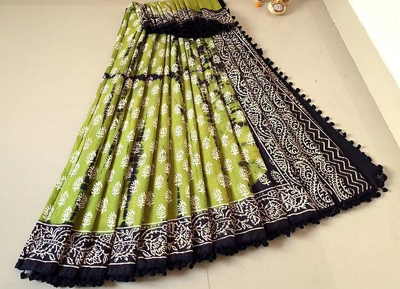 Green and Black cotton Sari