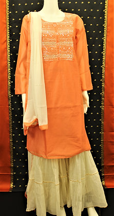 Peach and Cream Sharara Suit