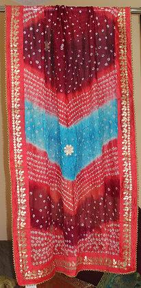 Red and Blue Bandhej Dupatta
