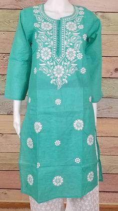 Light Green Embroidered Cotton Kurti