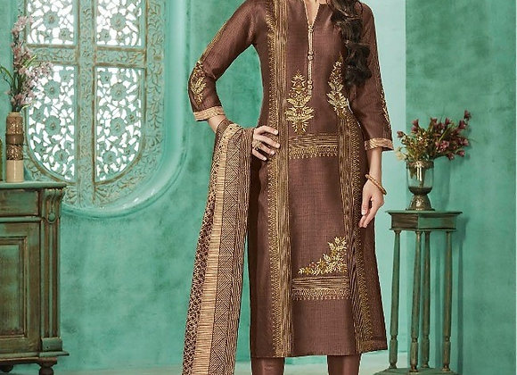 COFFEE RAW SILK EMBROIDERED STITCHED CHURIDAAR SALWAR KAMEEZ ( XL )