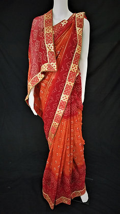 Red and Maroon Bhandej printed Saree
