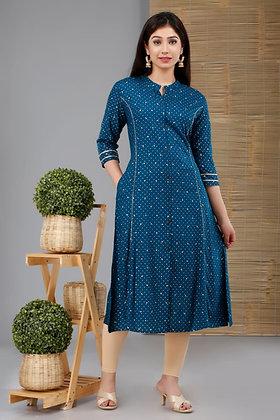 Dark Blue Printed Cotton Kurti