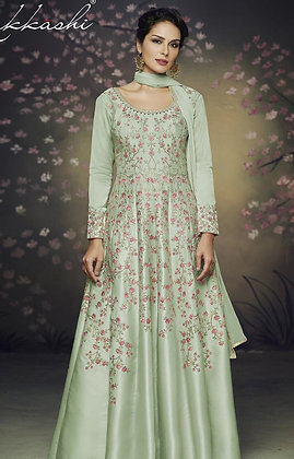 Green Indo-western Gown w/ Embroidery allover