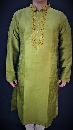 Mehndi Green Silky Readymade Kurta