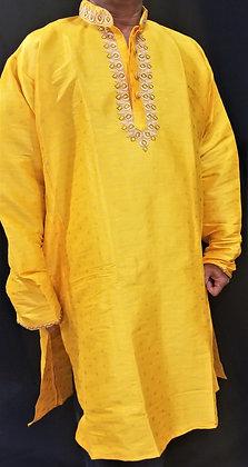 Yellow self-print silk Kurta (4XL)