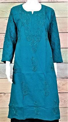 Teal Blue Cotton Kurti w/ Embroidery