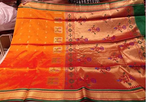 Orange Silk Sari