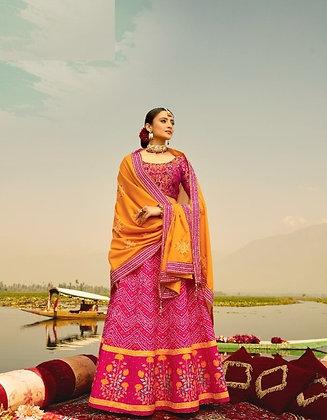 Pink and Yellow Semi-Silk Lehnga