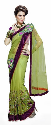 Designer Light Green Saree with Purple Border