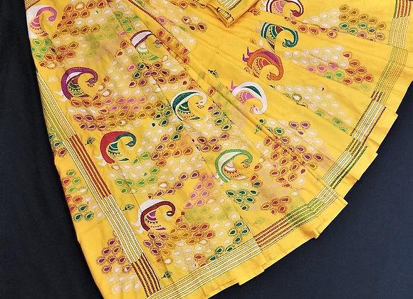 Yellow Banglori Silk Full embroidery Kantha work