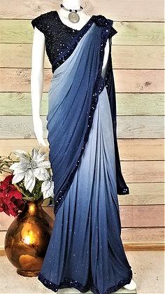 Blue - Stitched Ready To Wear saree