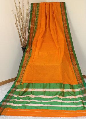 Orange Plain Ilkal Saree