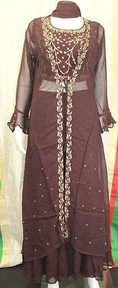 Brown Crop-Top Sharara Suit