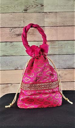 Magenta Pink Embroidered Potli Bag