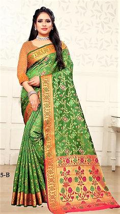 Green Art Silk Sari