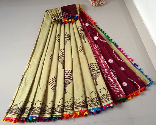 Beige and Brown cotton Mulmul Sari
