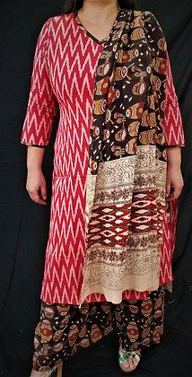 Red and Black combination Soft cotton Salwar Kameez