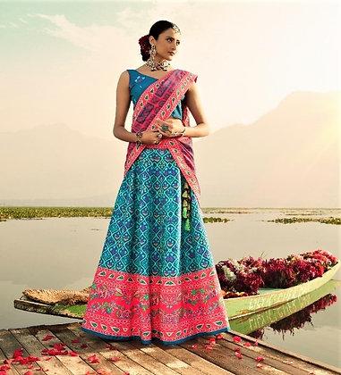 Blue-Pink Semi-Silk Lehnga-Choli