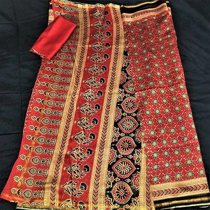 Ajrakh print Maroon and Blue chanderi handloom saree