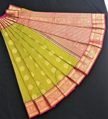LimeGreen with Magenta pink Kanjivaram Silk Pattu