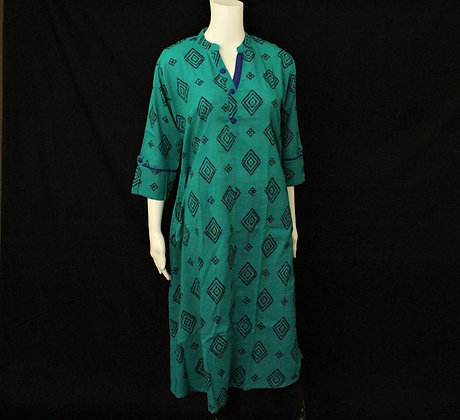 Teal cotton long Kurti 3/4 sleeve