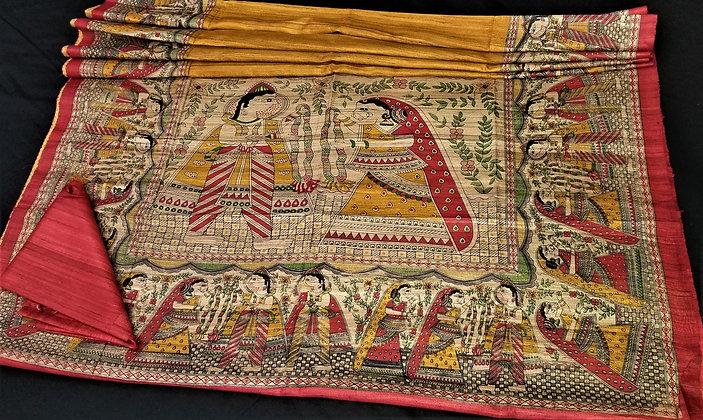 Madhubani handloom Yellow silk saree