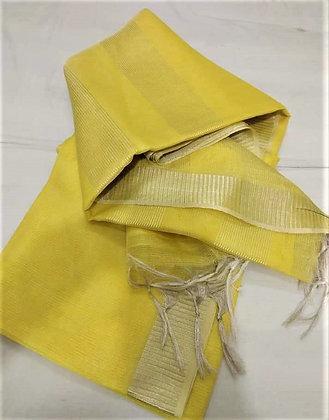 Lemon Yellow handloom cotton linen saree